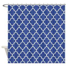 Navy blue quatrefoil pattern Shower Curtain on CafePress.com