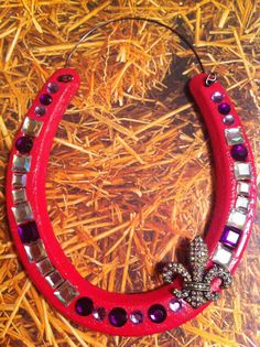 Hot Pink Horse Shoe w/ Purple and White Stones  by GlamHorseShoes, $12.00