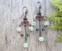 Green stone earrings Chandelier earrings Green by PixiesForest