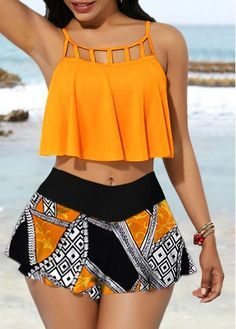 Spaghetti Strap Cage Neck Top And Printed Pantskirt Swimwear