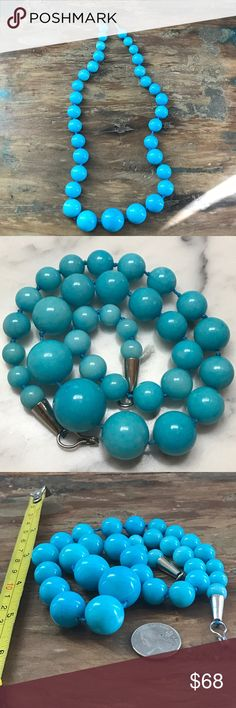"""Blue Quartz Gemstone Bead Necklace This amazing necklace is heavy! The stones are beautiful with specks of sparkle. Cone clasp. On a heavy knotted rope. The stones are very large. Measures-22"""" Jewelry Necklaces"""