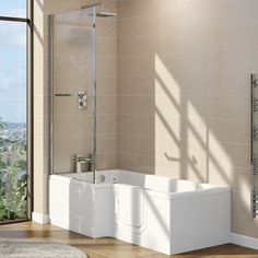 Browse the Marsden walk in 1700mm L shaped bath online. Includes a screen & panel. Ensures easy bathing for those with mobility issues. Now in stock. Walk In Shower Bath, P Shaped Bath, Bath Screens, Bath Taps, Solid Doors, Shower Screen, Curved Glass, Modern Bathroom, Bathroom Ideas