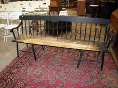 Black painted 8 ft bench, all orig, nice patina, heavy and sturdy, sold for 125. in Bloomfield, super auction bargain.