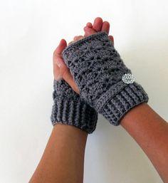 Gray Crochet Fingerless Gloves, Eco Friendly Yarn. $19.99, via Etsy.