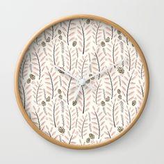 Pink Woodland Pattern Wall Clock