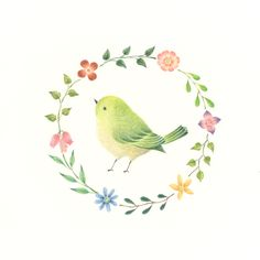"""Little Green Bird and Wreath"" −RiLi, picture book, illustration, design…"