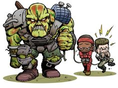Fallout 3 A Super Mutant, Red & Shorty