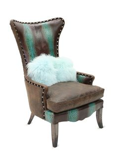 Turquoise and Brown Embossed Leather Chair by Old Hickory Tannery at Gilt