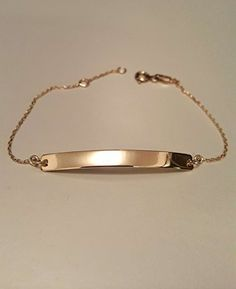 Solid Gold Personalized Bar Name Bracelet Initial Bracelet, Custom Made Bracelet Bar Bracelet, engrave names, numbers, born dates Initial Bracelet, Name Bracelet, Engraved Bracelet, Gold And Silver Bracelets, 14k Gold Jewelry, Dainty Diamond Necklace, Diamond Pendant, Diamond Bracelets, Jewelry Accessories