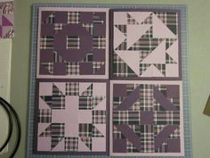 Here is a picture of the set of 4 quilt square cards - Wishing Ring, Indian Meadows, Hearth and Home, and Bambury Cross.