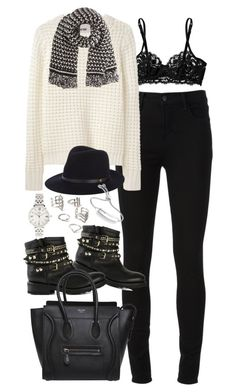 """Outfit with studded boots"" by ferned ❤ liked on Polyvore featuring J Brand, La Perla, Acne Studios, STELLA McCARTNEY, Ash, rag & bone, CÉLINE, FOSSIL, Forever 21 and Monica Vinader"