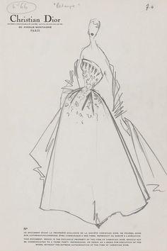 1952 - Dior Palmyre dress sketch
