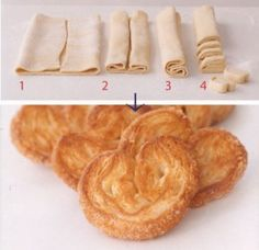 Sweet Palmiers Recipe Desserts with puff pastry, sugar.drizzle with glazed topping. Sweet Puff Pastry Recipes, Sweet Recipes, Pastries Recipes, Puff Pastry Desserts, Puff Pastries, Easy Recipes, Cookie Recipes, Dessert Recipes, Snacks