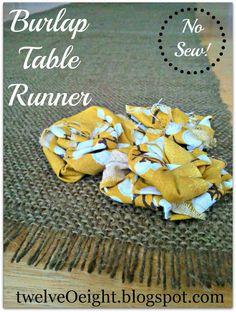 DIY Burlap Table Runner And Fabric Roses