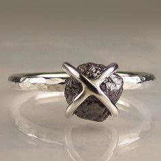 Rough Black Diamond Ring (caged in sterling) $255
