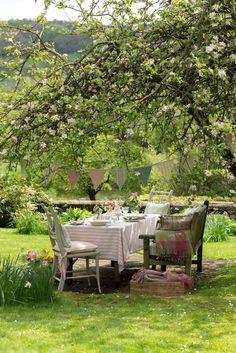 cozy garden dinning space