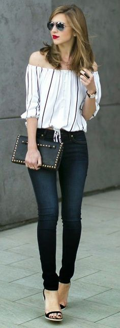 off the shoulder blouse with black jeans