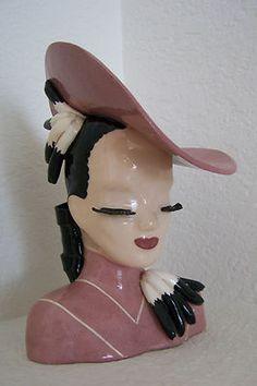 "Incredibly RARE 9"" Betty Lou Nichols Ermyntrude Head Vase in PINK!"