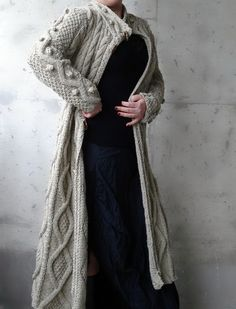 Beige Cable Long Knitted Coat Cardigan by Uniquebethea on Etsy