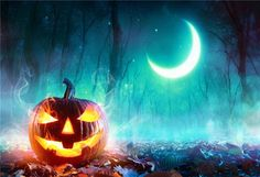 Halloween of Night Fall Leaves Photography Backdrops - 20(W)X10(H)FT(6X3M)