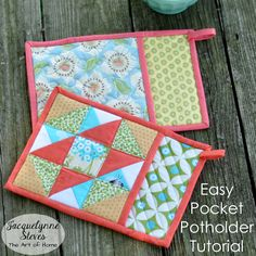 Easy Pocket Potholder Tutorial- make a simple version with a solid piece of fabric, or use your scraps to make the quilt block first (tutorial included) and then make the potholder. Makes a great gift!