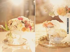Soft pastel florals + antique mirrored trays = utterly gorgeous!  From the bride: I had Garden Roses, Peach Finese and Sahara Roses, Gardenias, Snapdragons, Stock, Ranunculus, Football Mums, Hydrangeas, Parrot Tulips, Dusty Miller and Brunia in my arrangements and centerpieces. | CHECK OUT MORE IDEAS AT WEDDINGPINS.NET | #weddings #weddinginspiration #inspirational