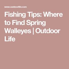 Fishing Tips: Where to Find Spring Walleyes | Outdoor Life