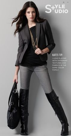 grey & black with flat boots