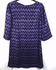 Elizabeth McKay Lindsay Shift Dress Purple Chevron Ikat Side Zip Style 505402  #ElizabethMcKay #ShiftShiftDress #Casual