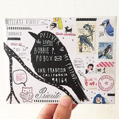 Bird Mail Art               pushing the envelopes: craftmakesmile