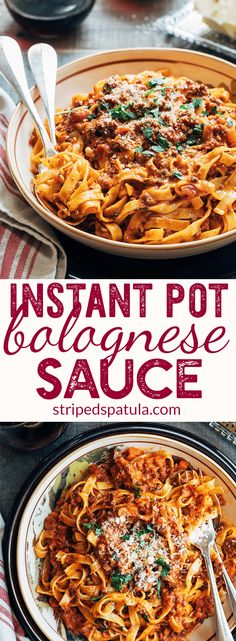 Rich and hearty, this Bolognese Sauce Recipe made in the Instant Pot brings the flavors of an all-day simmer to your table in less than half the time. Serve Bolognese over pasta, or layer with Béchamel in lasagna. Easy Pasta Sauce, Pasta Sauce Recipes, Recipe Pasta, Pasta Sauce Instant Pot, Spaghetti Sauce, Zucchini Spaghetti, Spaghetti Bolognese, Pasta Sauces, Noodle Recipes