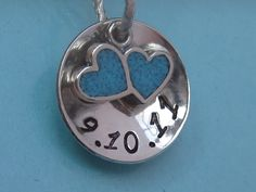 SOMETHING BLUE- Custom Hand stamped wedding pendant and bouquet charm- Limited Edition - back in stock. $20.50, via Etsy.
