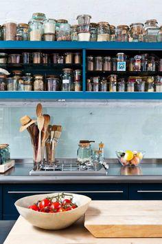 A Light-filled London Loft with a Dreamy Kitchen – Design*Sponge Kitchen Pantry, Kitchen Dining, Kitchen Jars, Happy Kitchen, Kitchen Organization, Kitchen Storage, Layout Design, Weck Jars, Spice Storage