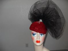 Fascinater, High Fashion, Sexy Sparkling Red with Black, Teardrop, Fascinator, Flappers Will Love It     $34.00