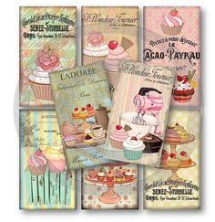 Cupcake Digital Collage Sheet/8 on a sheet; these image are adorable