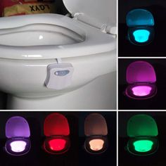 Smart Bathroom Toilet Night Light LED Motion Activated On/Off Seat Sensor Lamp 8 Color LED Toilet Lamp - White Mobile