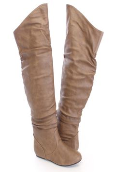 Make a fashion statement with these sexy boots! They will look super hot paired with your favorite skinnies or sweater dress. Make sure you add these to your closet, it definitely is a must have! It features faux leather upper with a slouchy design, slip on design, closed toe, thigh high length, stitched detailing, and cushioned footbed. Approximately 21 inch shaft, and 16 inch circumference.