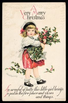 Vintage Christmas-Postcard-Signed Ellen Clapsaddle-Girl Holding Bunch of Holly