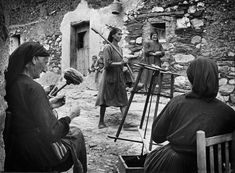 """W. Eugene Smith SPAIN. Extremadura. Province of Caceres. Deleitosa. 1951. Women spinning wool. From """"Spanish Village"""" photo-essay."""