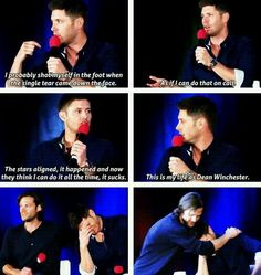 Jensen is haunted by the single man tear Jensen Ackles, Jensen And Misha, Jared Padalecki, Misha Collins, Supernatural Tv Show, Supernatural Quotes, Winchester Boys, Super Natural, Sam Dean