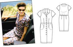 Shirt dress with bloused back. Burda pattern.