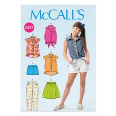 McCall's Sewing Pattern - Girls' outfit coordinates. Easy to sew. IncludeS tops, shorts, skirts, and pants. … WeaverDee.com