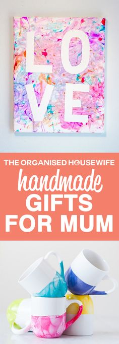 A handmade gift stands out from the rest and nothing says love more than a gift made with thought and care! Handmade Gifts for mum the kids can make.