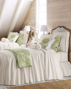 Beautiful. Twin beds in green and white for guest room. Love the attic feel.