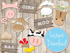 INSTANT DOWNLOAD  BARNYARD Photobooth Props  Printable