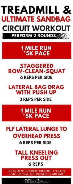 Functional training @UltimateSandbag and Treadmill Circuit Workout to improve running speed and performance.