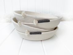 White Trim, Black Trim, Cotton Anniversary Gifts, Natural Braids, Silver Paper, Neat And Tidy, Friendship Gifts, Ring Dish, Cotton Rope