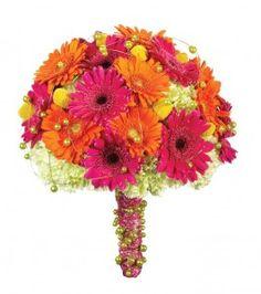 Beautiful silk flower pink and orange gerbera daisy bouquet.