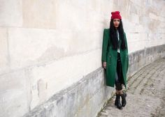 red beanie/green coat  ... what's there not to like?