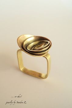 "Sandra Z | ""Little Square Ring""  Brass"